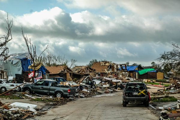 A neighborhood in Moore, Oklahoma, after a devastating tornado ripped through the community in 2013.