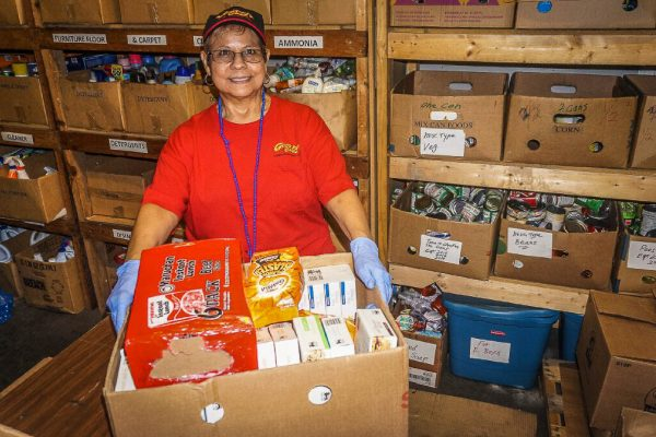 GPC Volunteer Hope Rich works in our lower distribution center, sorting product and assembling Emergency Boxes.